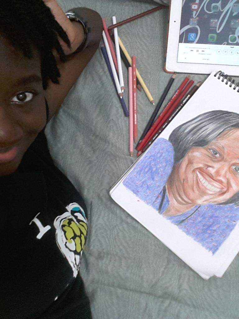 Late night half-selfie with the drawing.